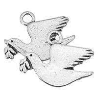 Zinklegierung Tier Anhänger, Vogel, Platinfarbe platiniert, frei von Nickel, Blei & Kadmium, 25x19x1mm, Bohrung:ca. 3mm, ca. 666PCs/Tasche, verkauft von Tasche