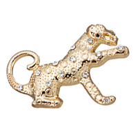 Zinklegierung Tier Anhänger, Leopard, goldfarben plattiert, mit Strass, frei von Nickel, Blei & Kadmium, 38x28x4mm, Bohrung:ca. 6x8mm, 50PCs/Menge, verkauft von Menge