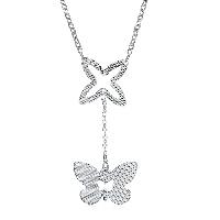 comeon® Schmuck Halskette, Messing, mit Verlängerungskettchen von 1.9lnch, Schmetterling, versilbert, Oval-Kette & für Frau, frei von Nickel, Blei & Kadmium, 22x50mm, verkauft per ca. 17.7 ZollInch Strang