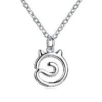comeon® Schmuck Halskette, Messing, mit Verlängerungskettchen von 1.9lnch, Katze, versilbert, Oval-Kette & für Frau, frei von Nickel, Blei & Kadmium, 14x20mm, verkauft per ca. 17.7 ZollInch Strang