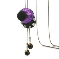 Zinklegierung Pullover Halskette, mit ABS-Kunststoff-Perlen & Eisenkette & Kunststoff Pailletten, Hut, plattiert, Schlangekette & für Frau & mit Strass, keine, frei von Blei & Kadmium, 55x40mm, verkauft per ca. 31 ZollInch Strang