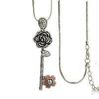 Zinklegierung Pullover Halskette, mit ABS-Kunststoff-Perlen & Eisenkette & Seidenspinnerei, Schlüssel, plattiert, Schlangekette & für Frau & mit Strass, frei von Blei & Kadmium, 86x24mm, verkauft per ca. 31 ZollInch Strang