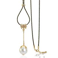 Zinklegierung Pullover Halskette, mit ABS-Kunststoff-Perlen & Gewachste Hanfschnur, goldfarben plattiert, für Frau & mit Strass, frei von Blei & Kadmium, 72x20mm, verkauft per ca. 31 ZollInch Strang