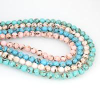Synthetische Türkis Perle, rund, verschiedene Größen vorhanden & Goldpulver, keine, Bohrung:ca. 1mm, 10SträngeStrang/Tasche, verkauft von Tasche