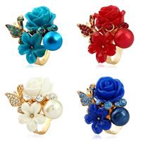 Zinklegierung Open -Finger-Ring, mit Harz & Kunststoff Perlen, Blume, goldfarben plattiert, für Frau & mit Strass, keine, frei von Nickel, Blei & Kadmium, 37mm, Größe:6-9, verkauft von PC