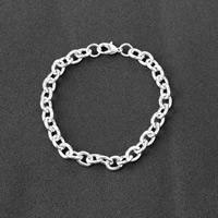Zinklegierung Armband, Platinfarbe platiniert, Oval-Kette & für Frau, frei von Nickel, Blei & Kadmium, verkauft per ca. 7.8 ZollInch Strang