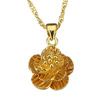 Messing Halskette, Blume, 24 K vergoldet, für Frau, 14.5x17.5mm, 2mm, verkauft per ca. 17 ZollInch Strang