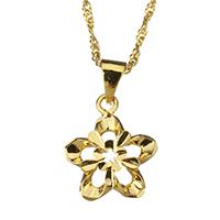 Messing Halskette, Blume, 24 K vergoldet, für Frau & hohl, 16x19mm, 2mm, verkauft per ca. 17 ZollInch Strang