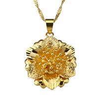 Messing Halskette, Blume, 24 K vergoldet, für Frau, 20.5x25mm, 2mm, verkauft per ca. 17 ZollInch Strang