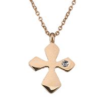 Edelstahl Schmuck Halskette, Kreuz, Rósegold-Farbe plattiert, Oval-Kette & für Frau & mit Strass, 12x16mm, 1mm, verkauft per ca. 15 ZollInch Strang