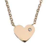 Edelstahl Schmuck Halskette, Herz, Rósegold-Farbe plattiert, Oval-Kette & für Frau & mit Strass, 11x9.5mm, 1mm, verkauft per ca. 15 ZollInch Strang