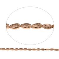 Nicht-magnetische Hämatit Perlen, Non- magnetische Hämatit, Blatt, Rósegold-Farbe plattiert, 4x8x2.50mm, Bohrung:ca. 1mm, ca. 48PCs/Strang, verkauft per ca. 15.5 ZollInch Strang