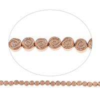 Nicht-magnetische Hämatit Perlen, Non- magnetische Hämatit, Blume, Rósegold-Farbe plattiert, 6x2.5mm, Bohrung:ca. 1mm, ca. 66PCs/Strang, verkauft per ca. 15.5 ZollInch Strang