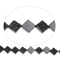 Nicht-magnetische Hämatit Perlen, Non- magnetische Hämatit, Rhombus, 14x4mm, Bohrung:ca. 1mm, ca. 3PCs/Strang, verkauft per ca. 15.5 ZollInch Strang