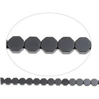 Nicht-magnetische Hämatit Perlen, Non- magnetische Hämatit, Achteck, 6x2mm, Bohrung:ca. 1mm, ca. 66PCs/Strang, verkauft per ca. 15.5 ZollInch Strang