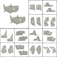 Edelstahl Schmuck Anhänger, Landkarte, verschiedene Stile für Wahl, originale Farbe, 12x21x1mm-33x20x1mm, 10PCs/Tasche, verkauft von Tasche