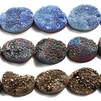 Natürliche Eis Quarz Achat Perlen, Eisquarz Achat, flachoval, druzy Stil, keine, 12x16x5mm, Bohrung:ca. 1mm, ca. 12PCs/Strang, verkauft per ca. 8 ZollInch Strang