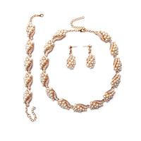 Zinklegierung Schmucksets, Armband & Ohrring & Halskette, mit ABS-Kunststoff-Perlen, goldfarben plattiert, mit Strass, frei von Blei & Kadmium, 450mm, Länge:ca. 6.5 ZollInch, ca. 17.5 ZollInch, verkauft von setzen