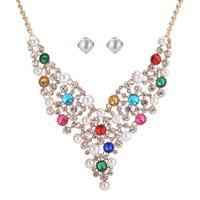 Zinklegierung Schmucksets, Ohrring & Halskette, mit ABS-Kunststoff-Perlen, mit Verlängerungskettchen von 7cm, goldfarben plattiert, mit Strass, keine, frei von Blei & Kadmium, 500mm, Länge:ca. 19.5 ZollInch, verkauft von setzen