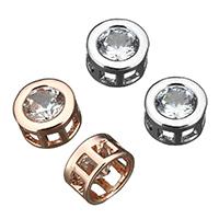 Kubischer Zirkonia Messing Perlen, plattiert, Mehrloch- & mit kubischem Zirkonia, keine, 8x8x4.50mm, Bohrung:ca. 2mm, 100PCs/Menge, verkauft von Menge