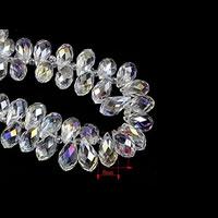 Tropfen Kristallperlen, Kristall, bunte Farbe plattiert, facettierte, 6x12mm, Bohrung:ca. 1-2mm, ca. 100PCs/Tasche, verkauft von Tasche