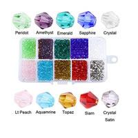 Kristall-Perlen, Kristall, verschiedene Größen vorhanden & facettierte, Bohrung:ca. 1-2mm, verkauft von Box