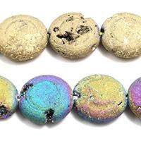 Achat Perlen, flache Runde, keine, 14x14x5mm, Bohrung:ca. 1.5mm, Länge:ca. 8 ZollInch, 5SträngeStrang/Menge, ca. 15PCs/Strang, verkauft von Menge