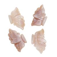 Natürliche Rosa Muschelperlen, Schmetterling, kein Loch, 20x35x3mm, 10PCs/Tasche, verkauft von Tasche