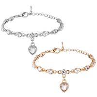 Zinklegierung Armband, Herz, plattiert, Armband  Bettelarmband & für Frau & mit Strass, keine, frei von Nickel, Blei & Kadmium, 10x25mm, verkauft per ca. 8.85 ZollInch Strang
