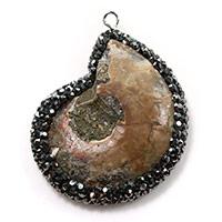Ammonit fossile Edelstein Anhänger, Trompete Muschel, mit Ton & Messing, Strandschnecke, silberfarben plattiert, natürliche, 31x41x8mm, Bohrung:ca. 2mm, 3PCs/Menge, verkauft von Menge