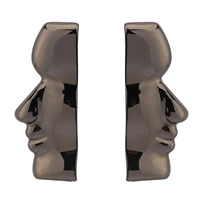 Zinklegierung Ohrstecker, Edelstahl Stecker, metallschwarz plattiert, für Frau, frei von Blei & Kadmium, 19mm, verkauft von Paar