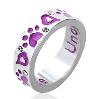 Zinklegierung Fingerring , mit Verlängerungskettchen von 5cm, Kreisring, silberfarben plattiert, mit Brief Muster & für Frau & Emaille, frei von Blei & Kadmium, 22x22mm, Größe:6-10, verkauft von PC