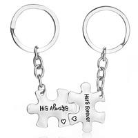 Zinklegierung Puzzle Paar Schlüsselanhänger, mit Eisen Ring, Platinfarbe platiniert, mit Brief Muster, frei von Blei & Kadmium, 24x31mm, verkauft von Paar
