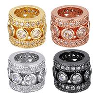 Befestigte Zirkonia Perlen, Messing, Zylinder, plattiert, Micro pave Zirkonia & hohl, keine, 11x9x11mm, Bohrung:ca. 7mm, 10PCs/Menge, verkauft von Menge