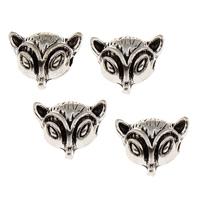 Zinklegierung Tier Perlen, Fuchs, antik silberfarben plattiert, frei von Blei & Kadmium, 13x11x6.50mm, Bohrung:ca. 1.5mm, 10PCs/Tasche, verkauft von Tasche
