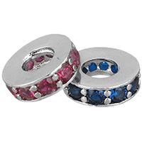 Zirkonia Micro Pave Messing Europa Bead, Kreisring, platiniert, Micro pave Zirkonia, keine, 9.50x3x9.50mm, Bohrung:ca. 4mm, 10PCs/Menge, verkauft von Menge