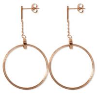 Titanstahl Tropfen Ohrring, Kreisring, Rósegold-Farbe plattiert, für Frau, 31x31mm, 12mm, 3PaarePärchen/Menge, verkauft von Menge
