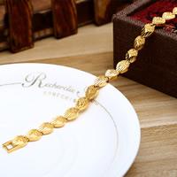 Messing-Armbänder, Messing, 24 K vergoldet, Herz Kette & für Frau, frei von Nickel, Blei & Kadmium, 8mm, verkauft per ca. 7 ZollInch Strang
