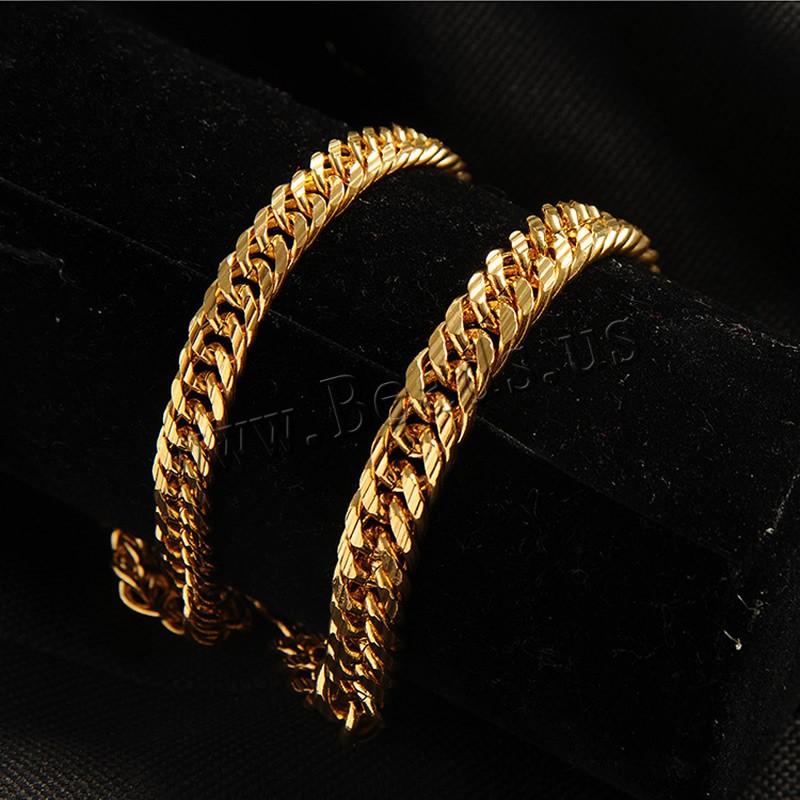 Herren-Armband & Bangle, Messing, 24 K vergoldet, Kandare Kette & für den Menschen, frei von Nickel, Blei & Kadmium, 7mm, verkauft per ca. 8.5 ZollInch Strang