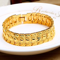Unisex-Armband & Bangle, Messing, 24 K vergoldet, mit einem Muster von Herzen, frei von Nickel, Blei & Kadmium, 16mm, verkauft per ca. 7.5 ZollInch Strang