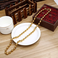 Messing Halskette, 24 K vergoldet, Kugelkette & für den Menschen, frei von Nickel, Blei & Kadmium, 9mm, verkauft per ca. 23.5 ZollInch Strang