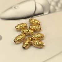 Messing Schmuckperlen, Trommel, 24 K vergoldet, Blume Schnitt & verschiedene Größen vorhanden & satiniert, frei von Nickel, Blei & Kadmium, Bohrung:ca. 1-3mm, 50PCs/Tasche, verkauft von Tasche