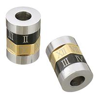 Edelstahl European Perlen, 304 Edelstahl, Zylinder, plattiert, mit römischen Zahl, 11x15x11mm, Bohrung:ca. 5mm, verkauft von PC