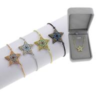 Befestiger Zirkonia Messing Armband, Stern, plattiert, einstellbar & Kastenkette & Micro pave Zirkonia & für Frau, keine, frei von Blei & Kadmium, 23x18.50x3mm, Länge:ca. 7.5 ZollInch, verkauft von Box