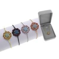 Befestiger Zirkonia Messing Armband, Blume, plattiert, einstellbar & Kastenkette & Micro pave Zirkonia & für Frau, keine, frei von Blei & Kadmium, 9.50x27.50x3mm, Länge:ca. 7.5 ZollInch, verkauft von Box
