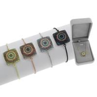 Befestiger Zirkonia Messing Armband, Quadrat, plattiert, einstellbar & Kastenkette & Micro pave Zirkonia & für Frau, keine, frei von Blei & Kadmium, 22x17.50x5mm, Länge:ca. 7.5 ZollInch, verkauft von Box