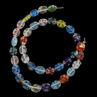Millefiori Lampwork Perle, flachoval, handgemacht, 8x10x3.50mm, Bohrung:ca. 1mm, ca. 37PCs/Strang, verkauft per ca. 14.5 ZollInch Strang
