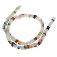 Chevron Glasperlen, Quadrat, handgemacht, 5.5mm, Bohrung:ca. 1mm, ca. 65PCs/Strang, verkauft per ca. 14.5 ZollInch Strang