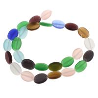 Handgewickelte Perlen, Lampwork, flachoval, handgemacht, 10x14x3.50mm, Bohrung:ca. 1mm, ca. 27PCs/Strang, verkauft per ca. 14 ZollInch Strang