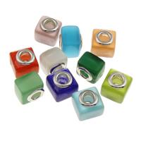 Lampwork Perlen European Stil, Quadrat, handgemacht, Messing-Dual-Core ohne troll, gemischte Farben, 12.50x12.50x11mm, Bohrung:ca. 5mm, verkauft von PC